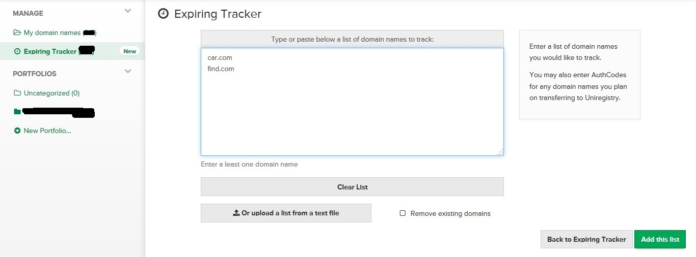Expiring Tracker from Uniregistry.com